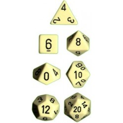 Brick Box of 7 Dices - D4 D6 D8 D10 D12 D20 Spots - Chessex - Opaque - Ivory/Black