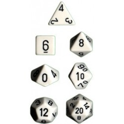 Brick Box of 7 Dices - D4 D6 D8 D10 D12 D20 Spots - Chessex - Opaque - White/Black