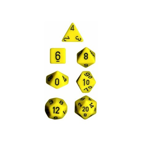 Brick Box of 7 Dices - D4 D6 D8 D10 D12 D20 Spots - Chessex - Opaque - Yellow/Black