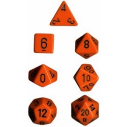 Brick Box of 7 Dices - D4 D6 D8 D10 D12 D20 Spots - Chessex - Opaque - Orange/Black