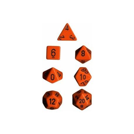 Set di 7 Dadi a D4 D6 D8 D10 D12 D20 Facce - Chessex - Opaco - Arancione/Nero
