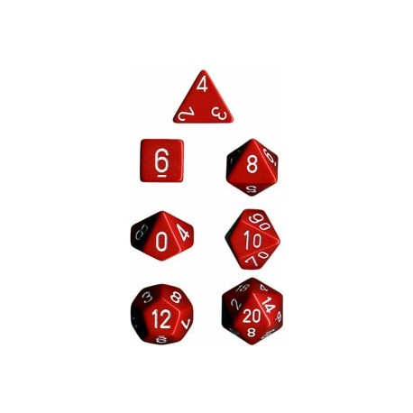 Brick Box of 7 Dices - D4 D6 D8 D10 D12 D20 Spots - Chessex - Opaque - Red/White