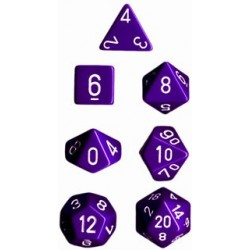 Brick Box of 7 Dices - D4 D6 D8 D10 D12 D20 Spots - Chessex - Opaque - Purple/White