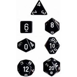 Set di 7 Dadi a D4 D6 D8 D10 D12 D20 Facce - Chessex - Opaco - Nero/Bianco