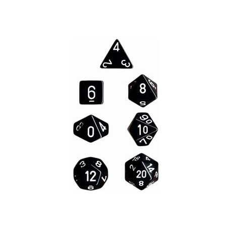 Brick Box of 7 Dices - D4 D6 D8 D10 D12 D20 Spots - Chessex - Opaque - Black/White