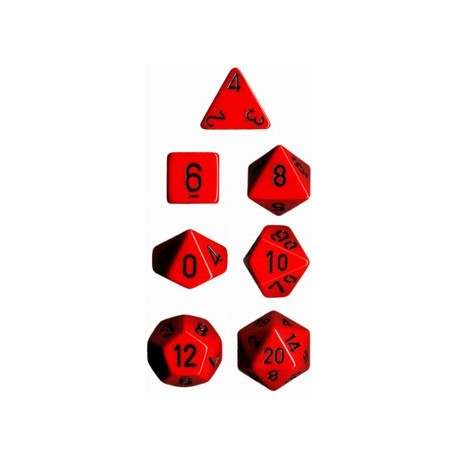 Brick Box of 7 Dices - D4 D6 D8 D10 D12 D20 Spots - Chessex - Opaque - Red/Black
