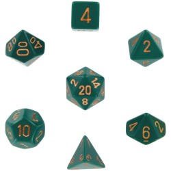 Brick Box of 7 Dices - D4 D6 D8 D10 D12 D20 Spots - Chessex - Opaque - Dust Green/Copper