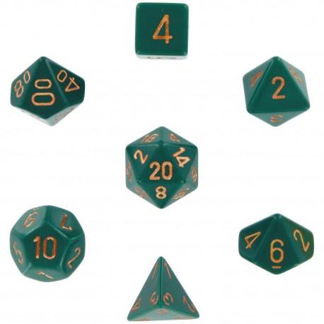 Set di 7 Dadi a D4 D6 D8 D10 D12 D20 Facce - Chessex - Opaco - Verde Polvere/Rame
