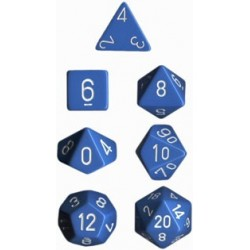 Set di 7 Dadi a D4 D6 D8 D10 D12 D20 Facce - Chessex - Opaco - Blu Chiaro/Bianco