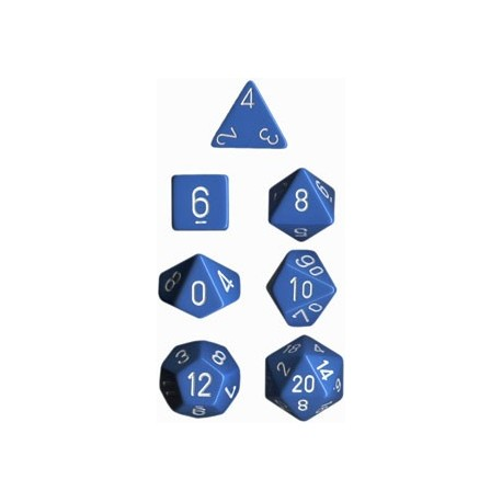 Brick Box of 7 Dices - D4 D6 D8 D10 D12 D20 Spots - Chessex - Opaque - Light Blue/White
