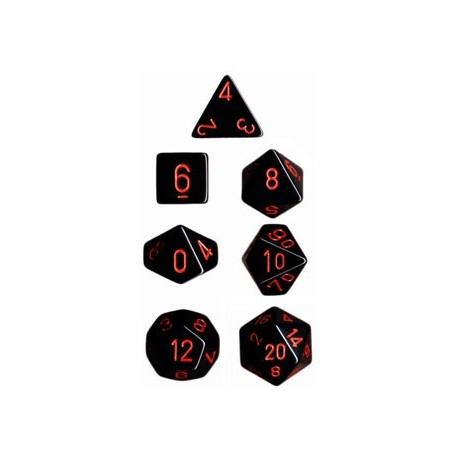 Brick Box of 7 Dices - D4 D6 D8 D10 D12 D20 Spots - Chessex - Opaque - Black/Red