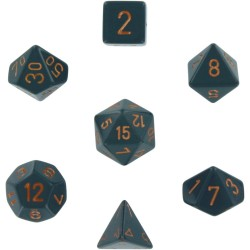 Brick Box of 7 Dices - D4 D6 D8 D10 D12 D20 Spots - Chessex - Opaque - Dark Grey/Copper