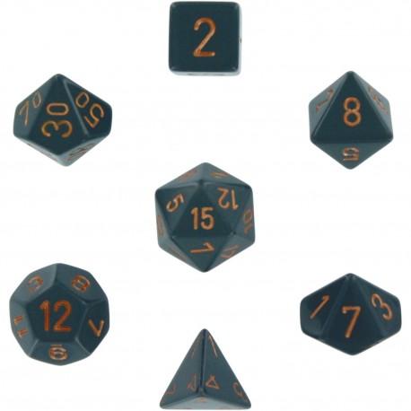 Brick Box of 7 Dices - D4 D6 D8 D10 D12 D20 Spots - Chessex - Opaque - Dark Grey/Copper