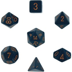 Brick Box of 7 Dices - D4 D6 D8 D10 D12 D20 Spots - Chessex - Opaque - Dusty Blue/Copper