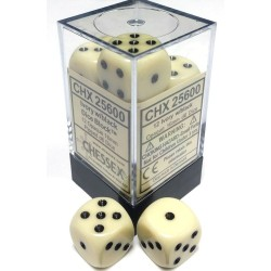 Brick Box of 12 Dices - D6 Spots - Chessex - Opaque - Ivory/Black
