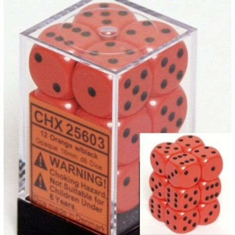 Brick Box of 12 Dices - D6 Spots - Chessex - Opaque - Orange/Black