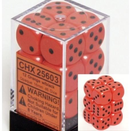 Set di 12 Dadi a D6 Facce - Chessex - Opaco - Arancione/Nero
