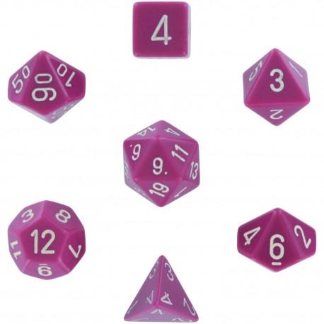 Brick Box of 7 Dices - D4 D6 D8 D10 D12 D20 Spots - Chessex - Opaque - Light Purple/White