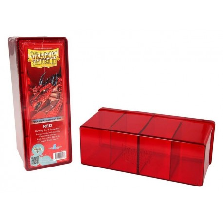 Scatola Rigida Porta Carte - 4 Compartimenti - Dragon Shield - Rosso