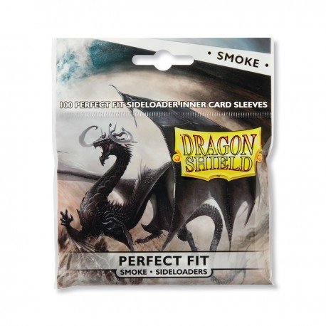 100 Sleeves Standard Perfect Fit Sideloader - Dragon Shield - Smoke