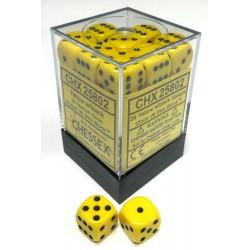 Set di 36 Dadi a D6 Facce - Chessex - Opaco - Giallo/Nero