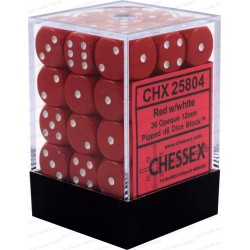 Set di 36 Dadi a D6 Facce - Chessex - Opaco - Rosso/Bianco