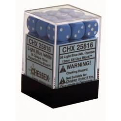 Set di 36 Dadi a D6 Facce - Chessex - Opaco - Azzurro/Bianco