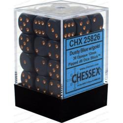 Set di 36 Dadi a D6 Facce - Chessex - Opaco - Blu Polvere/Oro
