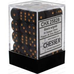 Set di 36 Dadi a D6 Facce - Chessex - Opaco - Nero/Oro