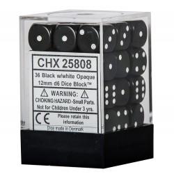 Set di 36 Dadi a D6 Facce - Chessex - Opaco - Nero/Bianco