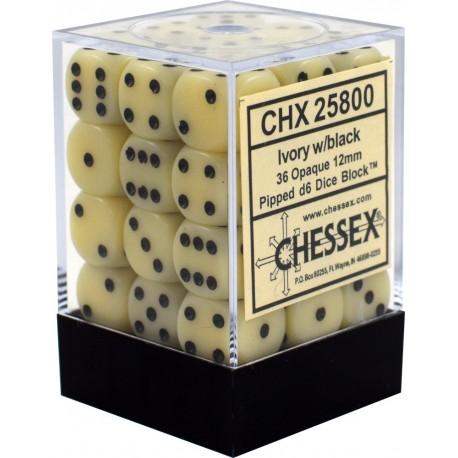 Set di 36 Dadi a D6 Facce - Chessex - Opaco - Avorio/Nero