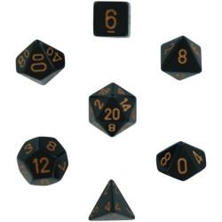 Set di 7 Dadi a D4 D6 D8 D10 D12 D20 Facce - Chessex - Opaco - Nero/Oro