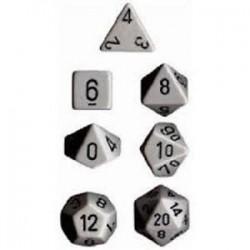 Set di 7 Dadi a D4 D6 D8 D10 D12 D20 Facce - Chessex - Opaco - Grigio/Nero