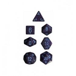Set di 7 Dadi a D4 D6 D8 D10 D12 D20 Facce - Chessex - Maculato - Cobalt Camo