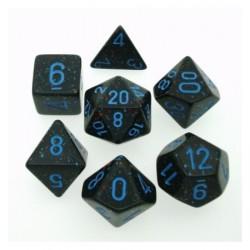Set di 7 Dadi a D4 D6 D8 D10 D12 D20 Facce - Chessex - Maculato - Blue Stars Camo