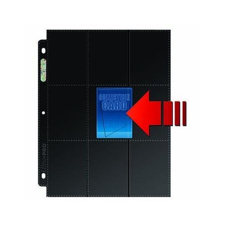 50 Pages for Album Ultra Pro Platinum Side Load - 18 Pocket Standard - 3 Holes - Black Background