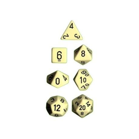 Brick Box of 7 Dices - D4 D6 D8 D10 D12 D20 Spots - Chessex - Opaque - Ivory/Black