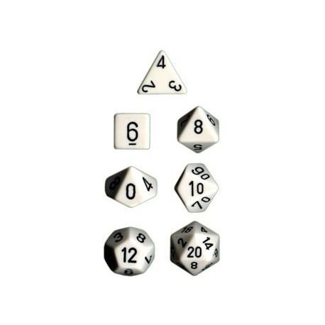 Brick Box of 7 Dices - D4 D6 D8 D10 D12 D20 Spots - Chessex - Opaque - White/Black