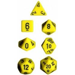 Brick Box of 7 Dices - D4 D6 D8 D10 D12 D20 Spots - Chessex - Opaque - Yellow/Black