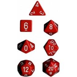 Set di 7 Dadi a D4 D6 D8 D10 D12 D20 Facce - Chessex - Opaco - Rosso/Bianco