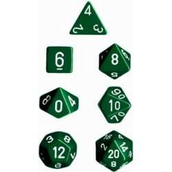 Brick Box of 7 Dices - D4 D6 D8 D10 D12 D20 Spots - Chessex - Opaque - Green/White