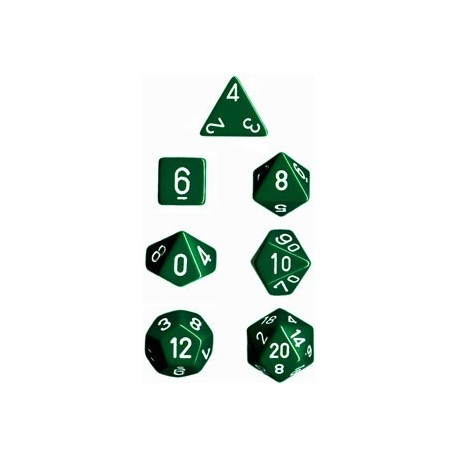 Brick Box of 7 Dices - D4 D6 D8 D10 D12 D20 Spots - Chessex - Opaque - Green/White