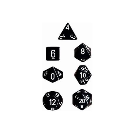 Brick Box of 7 Dices - D4 D6 D8 D10 D12 D20 Spots - Chessex - Opaque - Black/White