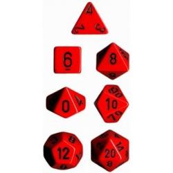 Brick Box of 7 Dices - D4 D6 D8 D10 D12 D20 Spots - Chessex - Opaque - Red/Black