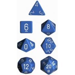 Brick Box of 7 Dices - D4 D6 D8 D10 D12 D20 Spots - Chessex - Opaque - Light Blue/White