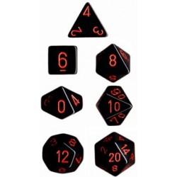 Set di 7 Dadi a D4 D6 D8 D10 D12 D20 Facce - Chessex - Opaco - Nero/Rosso