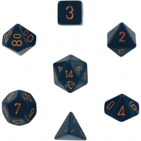 Brick Box of 7 Dices - D4 D6 D8 D10 D12 D20 Spots - Chessex - Opaque - Dusty Blue/Copper