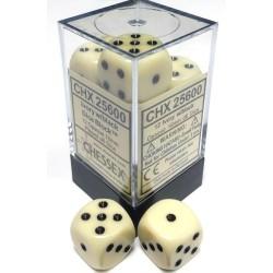 Set di 12 Dadi a D6 Facce - Chessex - Opaco - Avorio/Nero