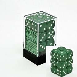 Brick Box of 12 Dices - D6 Spots - Chessex - Opaque - Green/White