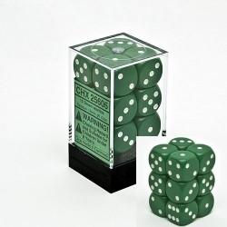 Set di 12 Dadi a D6 Facce - Chessex - Opaco - Verde/Bianco